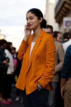street fashion, orange you glad, pumpkin, colors, red lips, jackets, street styles, blazers, oranges
