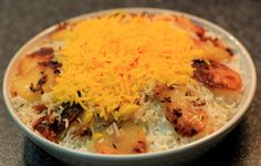 Chelo kebab with saffron rice