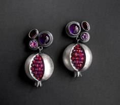 "Boline Strand; ""Pomegranate Primadonna Earrings""; silver, amethyst, pink sapphire, ruby and garnet"