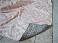 """Pink Chevron and Gray 29"""" x 36"""" Blanket - Ultra Soft Minky Baby Blanket - Baby/Toddler size minky blanket - Personalized Baby Blanket on Etsy, $25.00"""