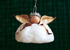 Cotton Ball Angel Ornament