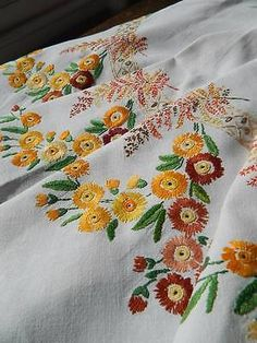 Vintage hand embroidered Irish linen tablecloth - Orange & Brown Gerbera