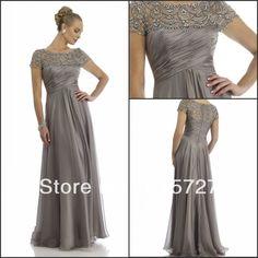 nova chegada 2014 manga curta cinza chiffon beading drapeado mãe da noiva vestido calça ternos vestido de noite US $155.00