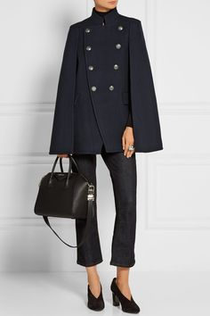 Pierre Balmain | Double-breasted felt cape | NET-A-PORTER.COM