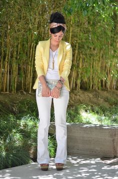 Yellow blazer & white jeans