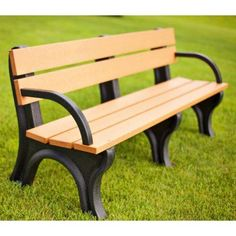 Outdoor Polly Products Traditional Commercial Recycled Platic Park Bench with Arms - ASM-TB4BA-01-BLK-BLK