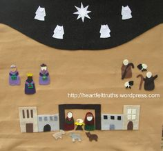 """Felt Advent Calendar with nativity scene for Christmas countdown. Christian families with preschoolers and young school age children will enjoy sharing this Christ-centered Christmas tradition as they countdown to Christ's birth. Like Noel Piper's """"Noel Calendar.""""  $45.00, via Etsy."""