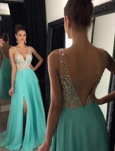 New Arrival Prom Dress,Ulass Prom Dress,sparkly crystal beaded v neck open back long chiffon prom dresses 2017 pageant evening gowns with leg slit - Thumbnail 3 Turquoise Prom Dresses, Sparkly Prom Dresses, Prom Dresses 2018, Beaded Prom Dress, Backless Prom Dresses, Dance Dresses, Beaded Chiffon, Dress Prom, Beaded Top