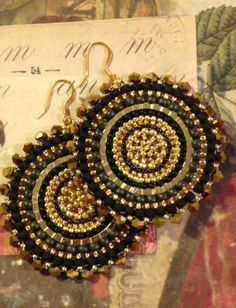 Black and Gold Crystal Goddess Seed Bead Earrings Big Bold | Etsy Big Earrings, Seed Bead Earrings, Jewelry Design Earrings, Seed Beads, Beaded Earrings, Beaded Jewelry, Statement Jewelry, Crystal Earrings, Unusual Jewelry