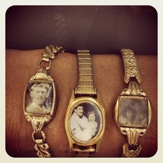 Search thru the boxes of broken watches at Antique swap meets and make sepia prints of family photos and reduce to fit! Great mother's gifts!