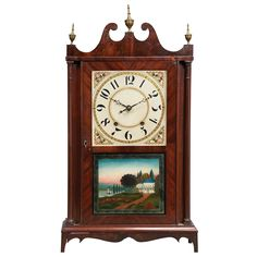 Federal Mahogany Pillar and Scroll Clock  Silas Hoadley, Plymouth, Connecticut, ca. 1825. American Paintings, Furniture & Decorative Arts - Sale 14AM02 - Lot 238 - Doyle New York