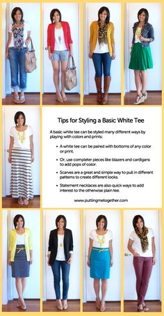"""GREAT Styling Tips for the Basic White Tee from """"Putting Me Together"""""""
