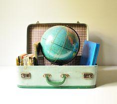Vintage Tweed Mint Green Suitcase - Midcentury Travel Luggage -
