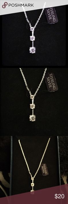 Sterling Silver journey pendant necklace Sterling Silver - Cubic Zirconia journey necklace with markings - brand new, comes in the box! Jewelry Necklaces