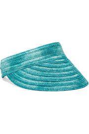 Mare mélange straw and satin-blend visor