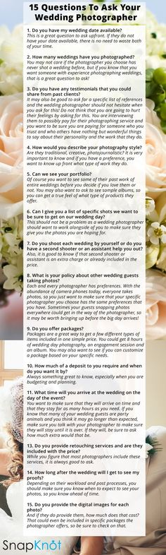 15 questions to ask a wedding photographer before you book them wedding tips and