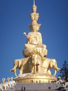 Sculpture of Samantabhadra, Bodhisattva, traditionally the protector of the…