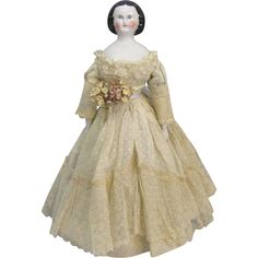 c1860s china head portrait lady doll known by collectors as 'Mary Todd Lincoln', circa 1860, 16 tall.  This particular head is avidly sought after by