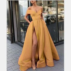 Prom Dresses A-Line Elegant Gold Long Women Formal Prom Dres.- Prom Dresses A-Line Elegant Gold Long Women Formal Prom Dresses Evening Gowns with Split - Pretty Dresses, Sexy Dresses, Beautiful Dresses, Fashion Dresses, Long Dresses, Summer Dresses, Casual Dresses, Cheap Dresses, Sparkly Dresses