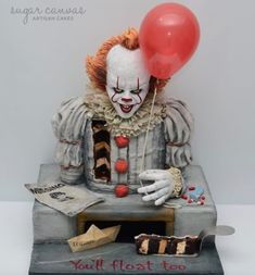 Pennywise the dancing clown cake! - cake by Sugar Canvas- Pennywise the dancing clown cake! – cake by Sugar Canvas Pennywise the dancing clown cake! – cake by Sugar Canvas - Crazy Cakes, Fancy Cakes, Cute Cakes, Bolo Halloween, Pasteles Halloween, Halloween Ideas, Unique Cakes, Creative Cakes, Cupcake Original
