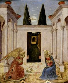 The Annunciation  Fra Angelico (c.1400–1455) (follower of)  The Ashmolean Museum of Art and Archaeology Oxford.