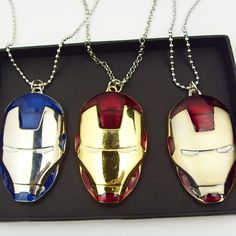 Marvel Super Hero Iron Man Mask Metal Necklace // Price: $11.99 with FREE…