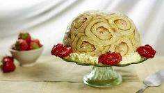 Charlotte Royale... This kitsch dessert is made up of jam-filled Swiss roll with a set egg custard flavoured with raspberries, strawberries and raspberry liqueur... Overnight preparation time... 30 mins to 1 hour cooking time... Serves 10-12...