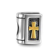 Golden Cross Bible Duotone Charm 925 Sterling Silver - SOUFEEL