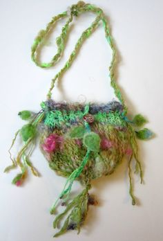 Hand knitted shoulder bag in rustic wool - Enchanted Rose Fairy Tale. This is so adorable!