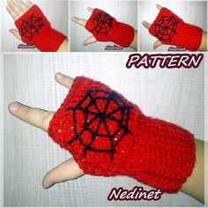 Spiderman Fingerless Gloves With  Crochet by NedinetCreations