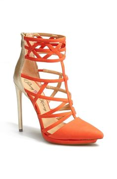 'Cross' Strappy Two-Tone Pointed Toe Sandal