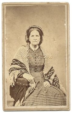 Older Woman Weeks Crochet or Knitted Shawl Antique CDV Photo Victorian Dress