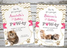 Kittens Birthday Invitation Cat Birthday Invitation Kitten Party Cute Kittens by DebsPrintables on Etsy https://www.etsy.com/listing/248060297/kittens-birthday-invitation-cat-birthday