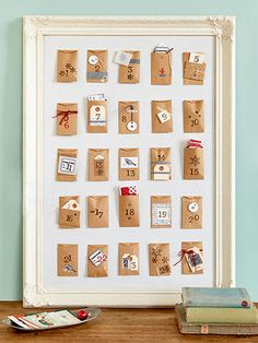 Count down the days until Christmas with little paper envelopes, sized to hold all sorts of surprises: candy, tickets, tiny toys. Make your own! http://www.countryliving.com/crafts/projects/holiday-craft-projects-1209#slide-2