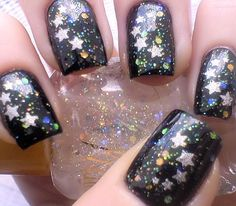 Black with Holographic and Silver Stars
