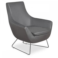 Parker Lounge Chair in Grey Leatherette by Aeon