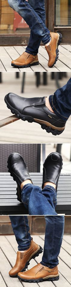 Men Genuine Leather Wearable Resistant Breathable Outdoor Soft Casual Shoes – Men's style, accessories, mens fashion trends 2020 Hot Shoes, Men's Shoes, Shoe Boots, Dress Shoes, Shoes Men, Casual Shoes, Men Casual, Moda Fashion, Fashion 2016