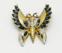 Vintage 1940's CORO CRAFT Corocraft Sterling Rhinestone Figural Butterfly Pin