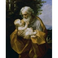 St Joseph with the Jesus Child c 1620-1630 Guido Reni (1575-1642Bolognese) Hermitage Museum St Petersburg Canvas Art - Guido Reni (24 x 36)