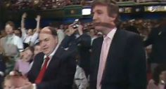 """A newly uncovered video appears to contradict Donald Trump's claim that he never knew a high-stakes gambler who was banned from New Jersey casinos for alleged ties to organized crime.  The reputed mob figure, Robert LiButti, can be seen standing alongside Trump in the front row of a 1988 """"WrestleMania"""