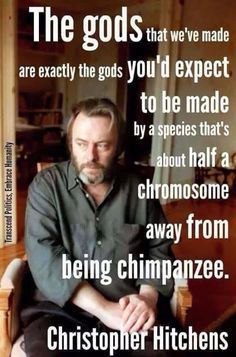 The gods that we've made are exactly the gods you'd expect to be made by a species that's about half a chromosome away from being a chimpanzee. ~Christopher Hitchens