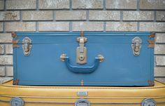 Mid Century Vintage Blue Trunk - Blue Metal Travel Trunk - Antique Toy Box - Small Doll Trunk - Wedding Card Box - Wedding Card Suitcase