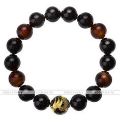 Black Agate Red Tiger Eye Gemstone Golden Dragon Ball Beads Bracelet Wristband