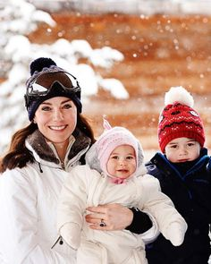 Catherine, Duchess of Cambridge with their children, Princess Charlotte and Prince George, enjoy a short private skiing break on March 3, 2016 in the French Alps, France.