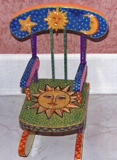 An old piece, acrylic painted sun chair