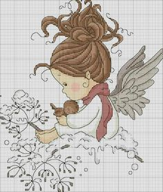 48 Ideas for embroidery patterns tree disney Cross Stitch Fairy, Cross Stitch Angels, Cross Stitch For Kids, Cross Stitch Boards, Cross Stitching, Cross Stitch Embroidery, Embroidery Patterns, Cross Stitch Designs, Cross Stitch Patterns