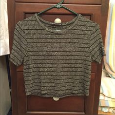 Brandy Melville Cropped Tee in Gray/Black Stripe Like new; worn only once. 💯% authentic Brandy Melville ribbed cropped tee in marled charcoal gray with black stripe. Very soft and comfy with a slightly thicker feel than usual BM clothing. In excellent condition; no rips, stains, or defects. 💓💓 Brandy Melville Tops Tees - Short Sleeve