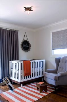 Gray wall paint and crib inspiration