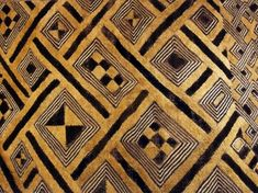 Kuba - Geometrically patterned cloth traditionally woven from raffia-tree leaves by the Kuba people of the Democratic Republic of the Congo. Typically created by Kuba men on a single heddle loom, then embroidered by women and children to create an uncut or cut-pile appearance (the latter resembles velvet or velour). 2: a Traditionally worn during ceremonial events, primarily funerals, but also found in tapestries and home goods. b Includes symbolic patterns that indicate a person's social…