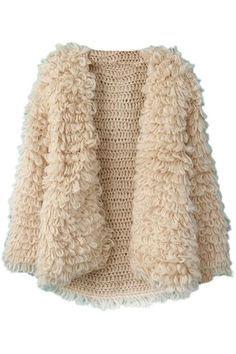 Textured cream crochet winter coat | loop fur stitch
